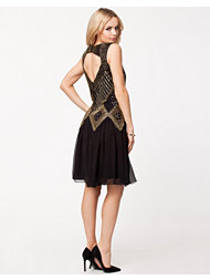 Frock and Frill Open Back Embellished Dress