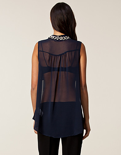 BLOUSES & SHIRTS - SAINT TROPEZ / SLEEVELESS CHIFFON BLOUSE - NELLY.COM