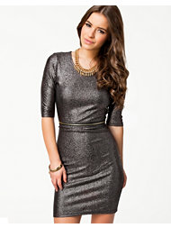 Ax Paris Zip Waist Metallic Bodycon Dress