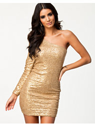 Ax Paris One Shoulder Metallic Seq Dress