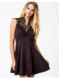 Ax Paris Crochet Neck Skater Dress
