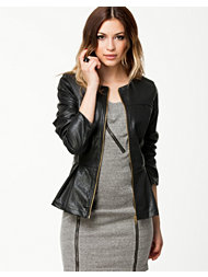 Ax Paris PU Peplum Zip Front Jacket