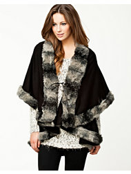 Ax Paris Fur Trim Layer Poncho