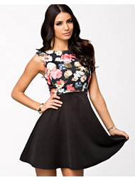Ax Paris Floral Print Bodice Skater Skirt Dress