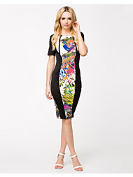 Ax Paris Neon Print Pannel Midi Dress