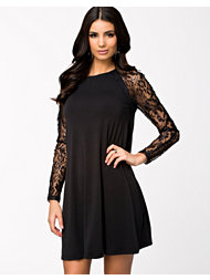 Ax Paris Sheer Lace Sleeve Swing Dress
