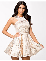 Ax Paris Brocade Print Metallic Skater Midi Dress