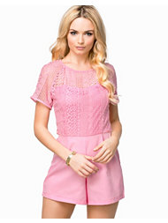 Ax Paris Crochet Overlay Top Playsuit