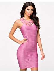 Ax Paris Crochet Neckline Ripple Dress