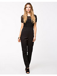 Ax Paris Crochet Overlay Jumpsuit