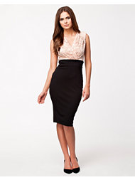 Ax Paris Lace Contrast Top Midi Dress