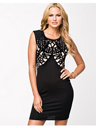 Ax Paris Laser Cut Out Contrast Bodycon Dress
