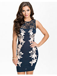 Ax Paris Lace Crochet Bodycon Contrast Dress
