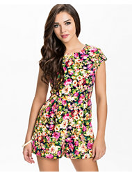 Ax Paris Neon Floral Print Playsuit