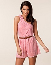ONE SHOULDER BOW LACE PLAYSUIT