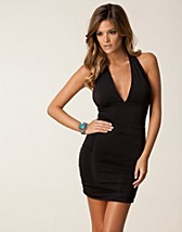 PLUNGE NECK DETAIL RUCHED DRESS
