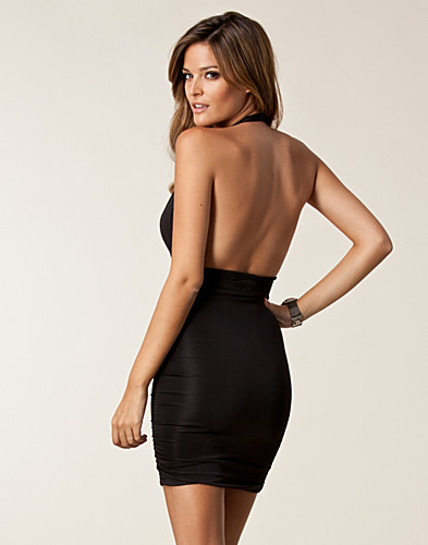 PARTY DRESSES - CLUB L / PLUNGE NECK DETAIL RUCHED DRESS - NELLY.COM