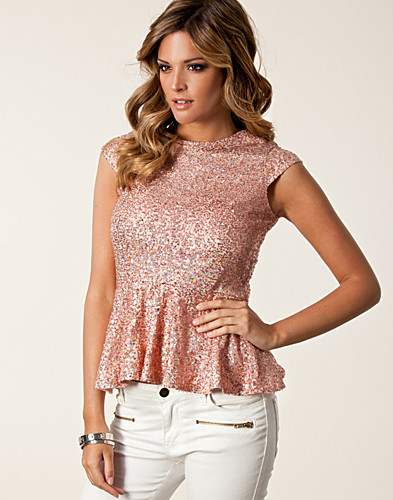 Sequin Peplum Zip Top - Club L
