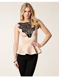 Club L Crochet Neck Peplum Top