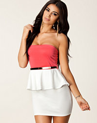 Colour Block Peplum Belt Dress