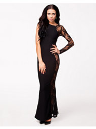 Club L Jaquard Side Lace Pannel Maxi Dress