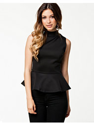 Club L High Neck Zip Peplum Top