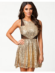 Club L Mesh Detailed Cut Out Sequin Dress