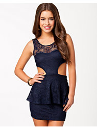 Club L Lace Cut Out Peplum Dress
