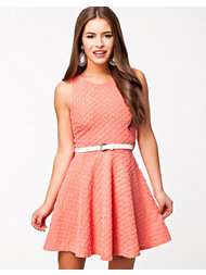 Club L Lurex Jaquard Belted Skater Dress