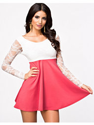 Club L Lace Low Back Bow Skater Dress