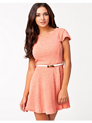 Club L Sequins Buqle Bow Belt Skater Dress