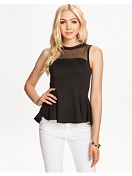 Club L V Mesh Peplum Top