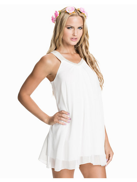 V Pearl Strap Chiffon Dress