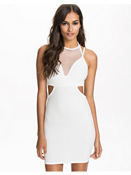 Club L Straps & Cut Out Mesh Bodycon Dress
