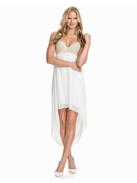 Pearl Embellished Bra High Low Dress