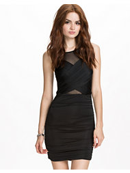 Club L Slinky Wrap Over Mesh Dress