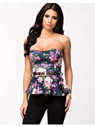 Club L Floral Bandeau Peplum Top