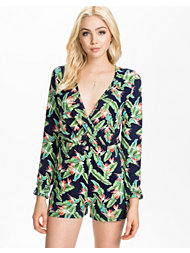 Club L L/S Watercolor Floral Playsuit