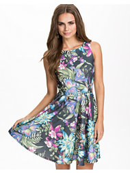 Club L Tropical Waffle Floral Cut Out Back Dress