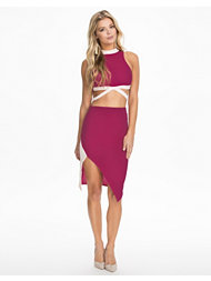 Club L High Neck Strap Detail Crop Top+Skirt Set