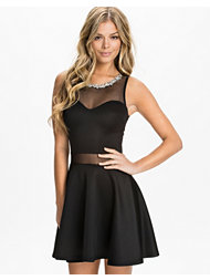 Club L Diamonte Necklace Mesh Sweetheart Dress
