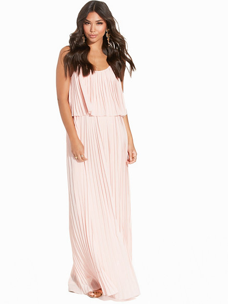 Chiffon Pleated Overlay Maxi Dress
