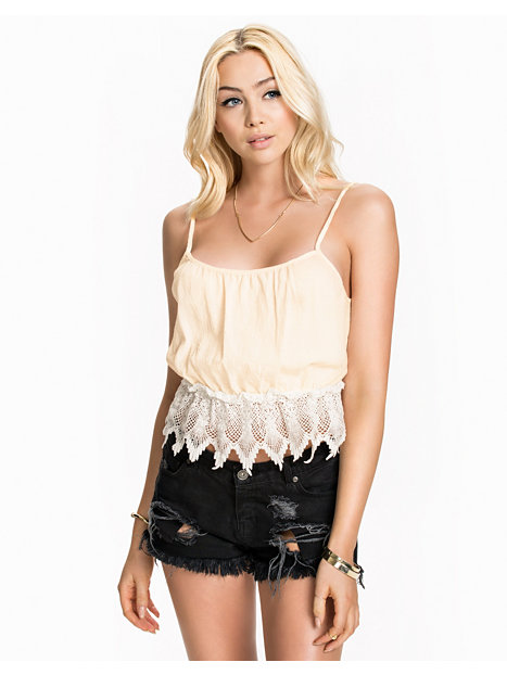 Lace Cami Top - Glamorous - Cream - Tops