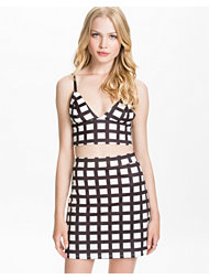 Dark Pink Check Bralet+A-Line Skirt Set