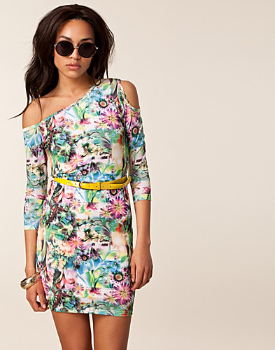 PARTY DRESSES - PAPRIKA / NEON FLORAL CUT OUT DRESS - NELLY.COM