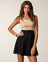 PU CONTRAST SKATER DRESS