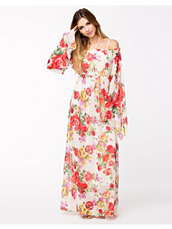 John Zack Off Shoulder Chiffon Maxi Dress