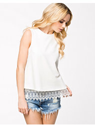 John Zack Open Back Lace Crepe Top