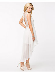 John Zack Lace V Back Chiffon High Low Dress