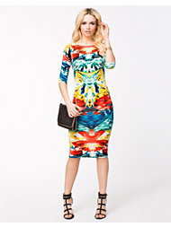 John Zack Jewel Print Midi Dress